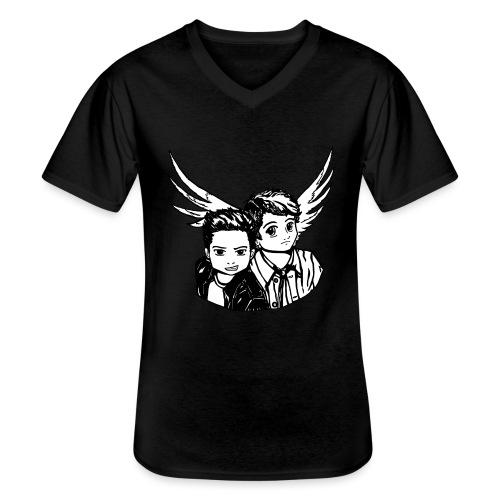 Destiel i sort/hvid - Klassisk herre T-shirt med V-udskæring