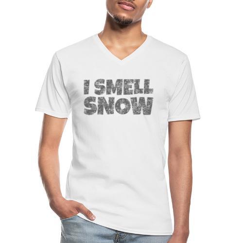 I Smell Snow (Dunkelgrau) Schnee, Wintersport, Ski - Klassisches Männer-T-Shirt mit V-Ausschnitt