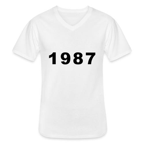 1987 - Klassiek mannen T-shirt met V-hals