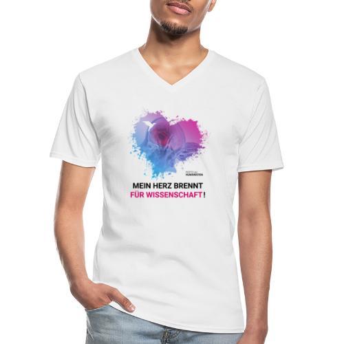 Mein Herz brennt für Wissenschaft! - Klassisches Männer-T-Shirt mit V-Ausschnitt