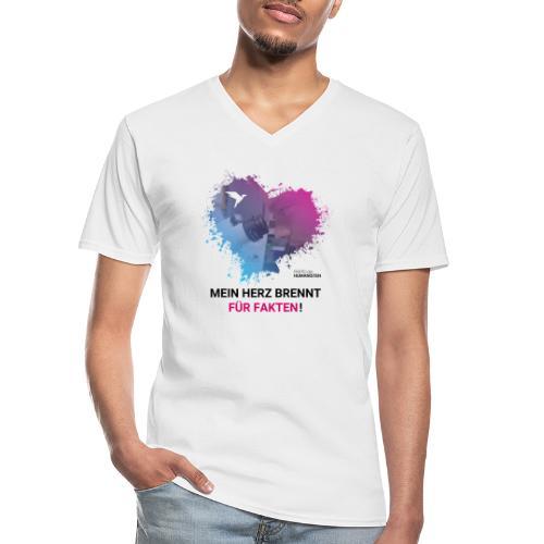 Mein Herz brennt für Fakten! - Klassisches Männer-T-Shirt mit V-Ausschnitt