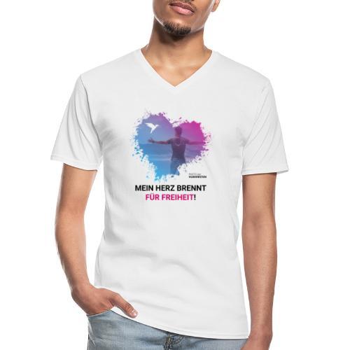 Mein Herz brennt für Freiheit! - Klassisches Männer-T-Shirt mit V-Ausschnitt