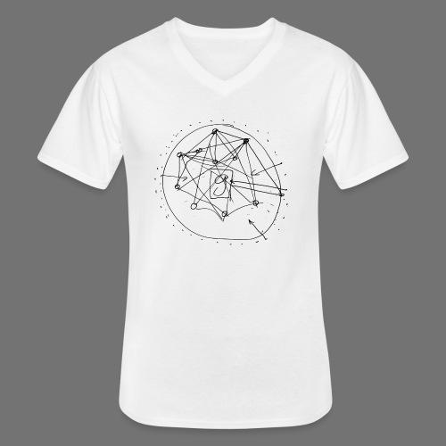 SEO strategia No.1 (musta) - Klassinen miesten t-paita v-pääntiellä