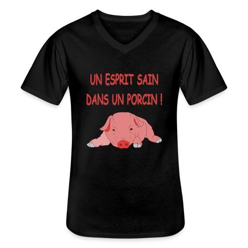 Porcitive Attitude - T-shirt classique col V Homme