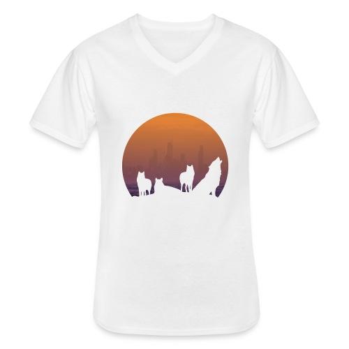 Wolfsrudel - Klassisches Männer-T-Shirt mit V-Ausschnitt