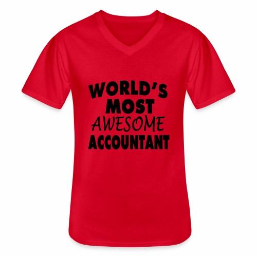 Black Design World s Most Awesome Accountant - Klassisches Männer-T-Shirt mit V-Ausschnitt