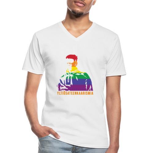 Yltiösateenkaarismia - Klassinen miesten t-paita v-pääntiellä