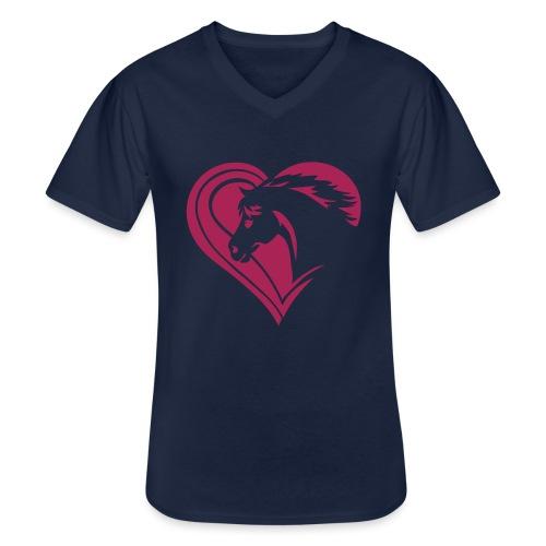 Iheart horses - Klassisches Männer-T-Shirt mit V-Ausschnitt