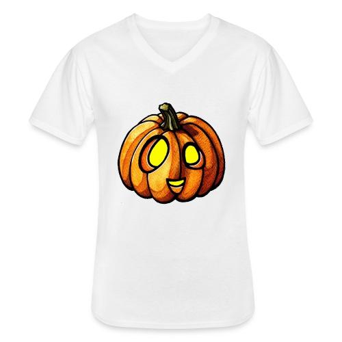 Pumpkin Halloween watercolor scribblesirii - Klassinen miesten t-paita v-pääntiellä