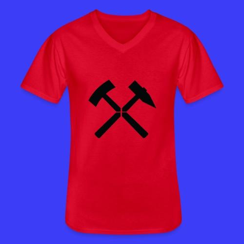 Pałki żelazne - Klasyczna koszulka męska z dekoltem w serek