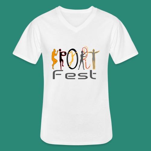 sportfest - Klassisches Männer-T-Shirt mit V-Ausschnitt