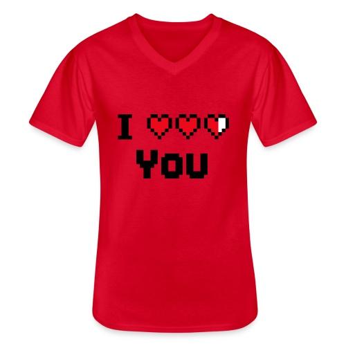 I pixelhearts you - Klassiek mannen T-shirt met V-hals