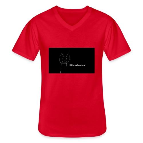 biisonivauva - Klassinen miesten t-paita v-pääntiellä