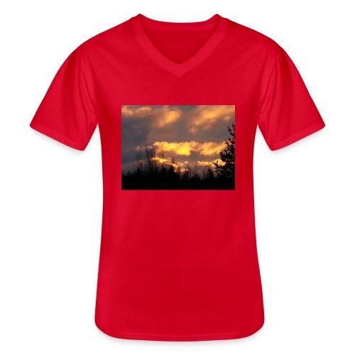 Iltarusko - Klassinen miesten t-paita v-pääntiellä