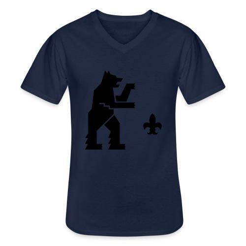 hemelogovektori - Klassinen miesten t-paita v-pääntiellä