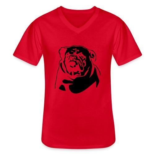 English Bulldog - negative - Klassinen miesten t-paita v-pääntiellä
