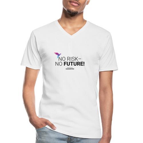 No risk – no future! - Klassisches Männer-T-Shirt mit V-Ausschnitt