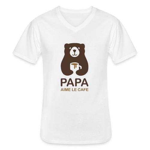 Papa aime le café - T-shirt classique col V Homme