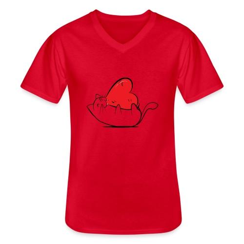 Cat Love - Klassiek mannen T-shirt met V-hals