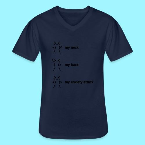 neck back anxiety attack - Men's V-Neck T-Shirt