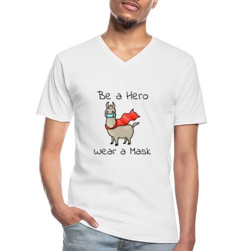 Sei ein Held, trag eine Maske! - Klassisches Männer-T-Shirt mit V-Ausschnitt