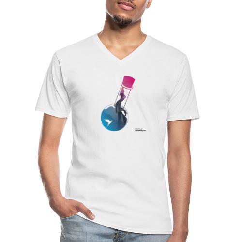 Flaschenpost: Er hört auf die Wissenschaft! - Klassisches Männer-T-Shirt mit V-Ausschnitt
