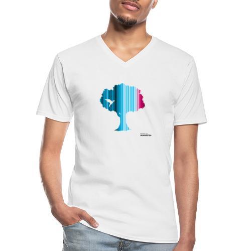Warming stripes: Wir brauchen die Natur! - Klassisches Männer-T-Shirt mit V-Ausschnitt