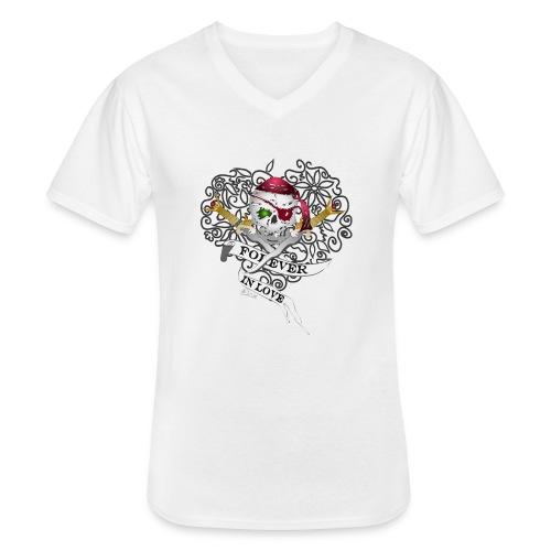 Forever in Love - Klassisches Männer-T-Shirt mit V-Ausschnitt