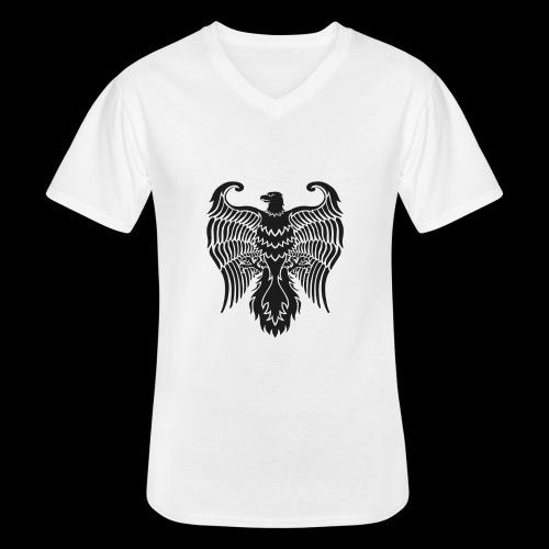 HAUKKA ei tekstia - Klassinen miesten t-paita v-pääntiellä