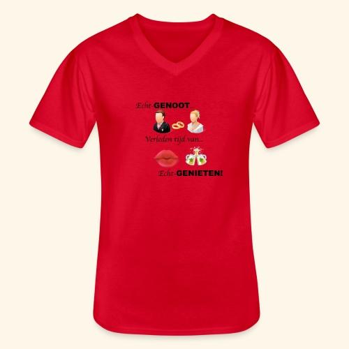 Echt-genoot, verleden tijd van ECHT-GENIETEN - Klassiek mannen T-shirt met V-hals