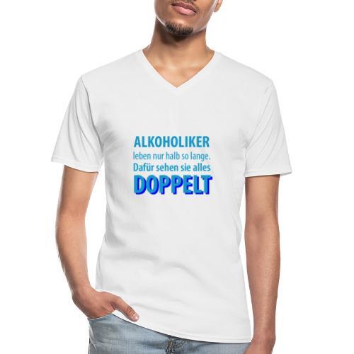 Alkoholiker sehen doppelt | NNKS Shirts - Klassisches Männer-T-Shirt mit V-Ausschnitt