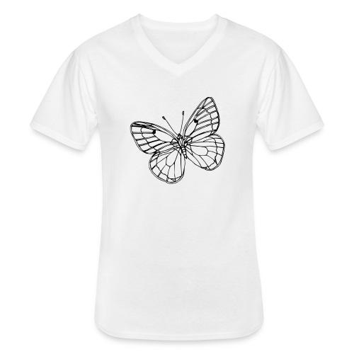 Vlinder - Klassiek mannen T-shirt met V-hals