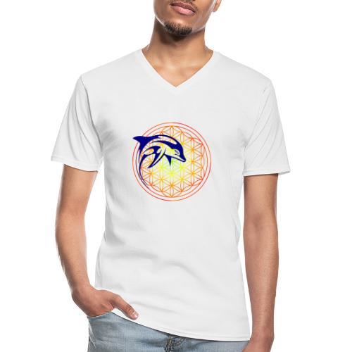 fleur de vie dauphin - T-shirt classique col V Homme