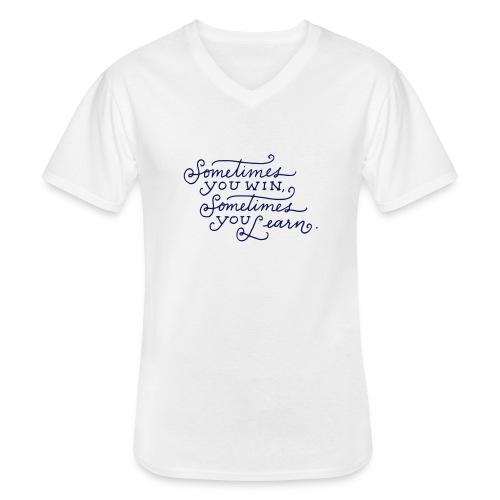 Win or Learn - Klassiek mannen T-shirt met V-hals