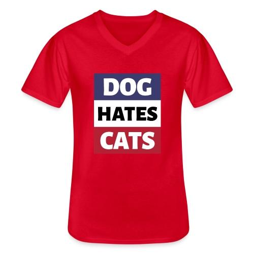 Dog Hates Cats - Klassisches Männer-T-Shirt mit V-Ausschnitt
