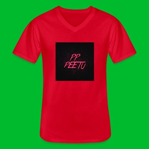 Ppppeetu logo - Klassinen miesten t-paita v-pääntiellä