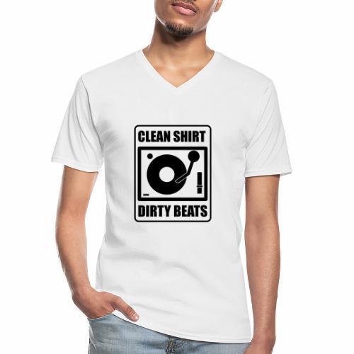 Clean Shirt Dirty Beats - Klassiek mannen T-shirt met V-hals