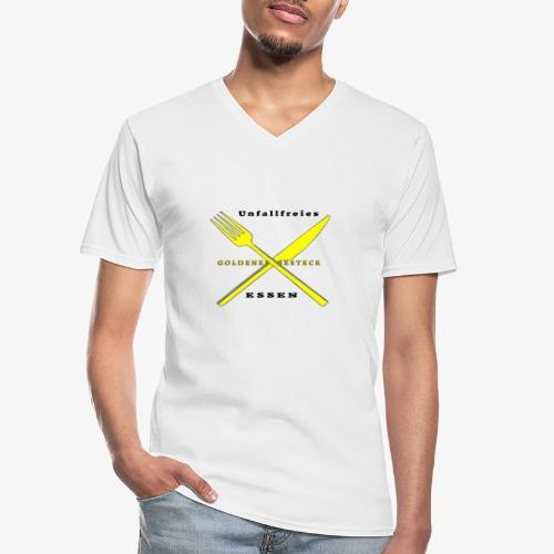Messer und Gabel unfallfrei - Klassisches Männer-T-Shirt mit V-Ausschnitt
