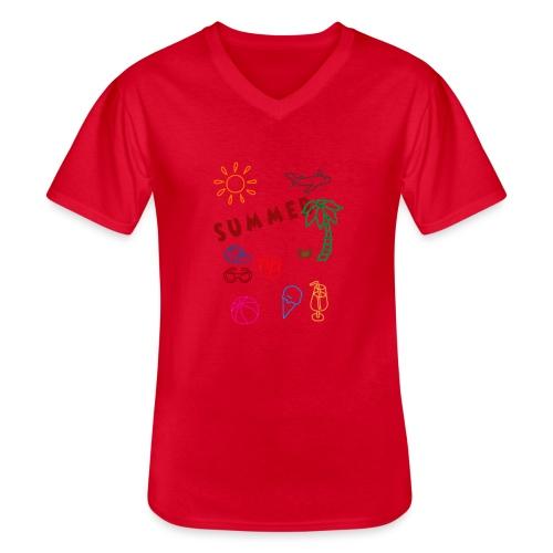 Summer - Klassinen miesten t-paita v-pääntiellä