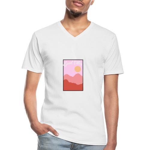 Good vibes - Klassiek mannen T-shirt met V-hals