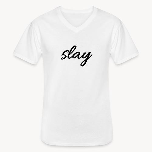 SLAY - Klassinen miesten t-paita v-pääntiellä