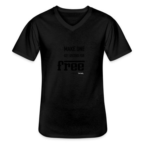 TWINS. make one get second for free - Klassisches Männer-T-Shirt mit V-Ausschnitt