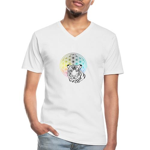 fleur de vie tigre - T-shirt classique col V Homme