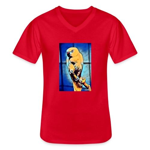 Bird in color - Klassinen miesten t-paita v-pääntiellä