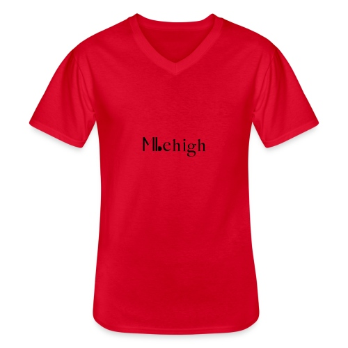 Milehigh Rags Logo Black - Klassisk T-skjorte med V-hals for menn
