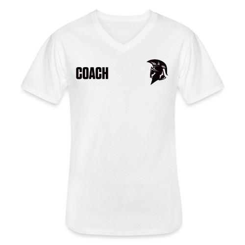 Coach Oberbekleidung Weiss - Klassisches Männer-T-Shirt mit V-Ausschnitt