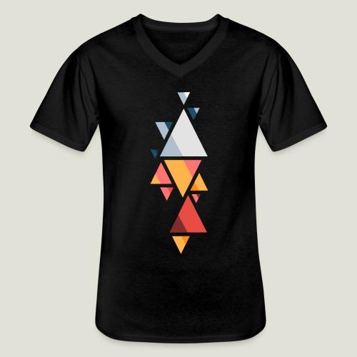 Shaped Agency Muster - Klassisches Männer-T-Shirt mit V-Ausschnitt