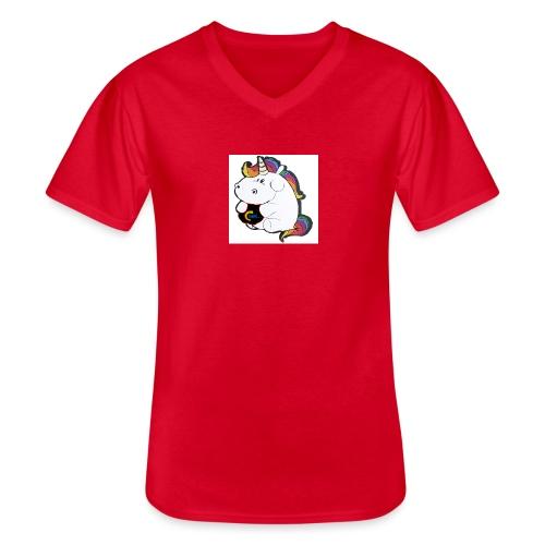 MIK Einhorn - Klassisches Männer-T-Shirt mit V-Ausschnitt