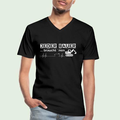 Jeder Bauer ... braucht 'nen Bagger - Klassisches Männer-T-Shirt mit V-Ausschnitt