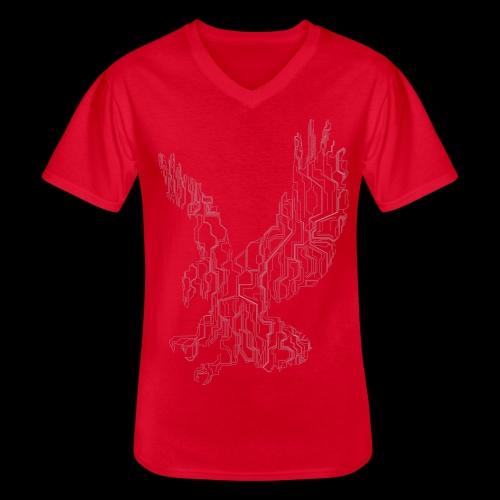 Circuit eagle White - Klassisk herre T-shirt med V-udskæring